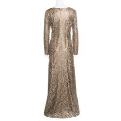 Tadashi Shoji Gold Laser Cut Embroidered Leatherette Long Sleeve Boat Neck Gown M