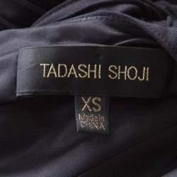 Tadashi Shoji Black Pintuck Detail Floral Lace Insert Barberton Gown XS