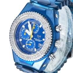 TechnoMarine Blue Stainless Steel & Rubber Diamonds YS12 Women's Wristwatch 42 mm