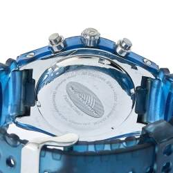 TechnoMarine Blue Stainless Steel & Rubber Diamonds YS12 Women's Wristwatch 42 mm