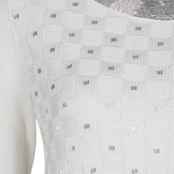 Temperley London Cream Cotton Silk Embellished Sweater S