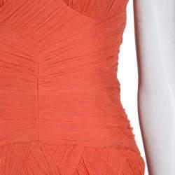 Temperley London Orange Crinkle Chiffon Evening Gown M