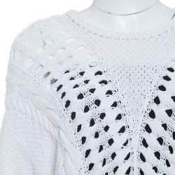 Thakoon Off White Chunky Perforated Knit Rib Trim Short Sleeve Top M