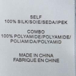 Tibi Navy Blue Camellia Print Silk Tie Neck Dress M