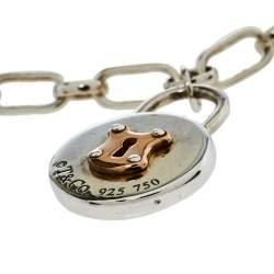 Tiffany & Co. Silver 18K Rose Gold Round Lock Charm Bracelet