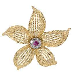 Tiffany & Co. Vintage 0.25 ctw Diamond and Ruby 18K Yellow Gold Flower Pin Brooch