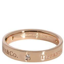 Tiffany & Co. Diamond 18K Rose Gold Band Ring Size EU 59