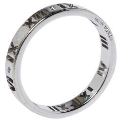Tiffany & Co. Atlas Roman Numeral Motif Diamond 18K White Gold Pierced Ring Size 54