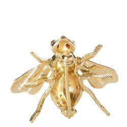 Tiffany & Co. 18K Yellow Gold and Ruby Vintage Fly Brooch