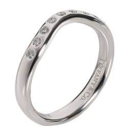 Tiffany & Co. Elsa Peretti Platinum Wave0.1 CTW  Diamond Ring Size 48
