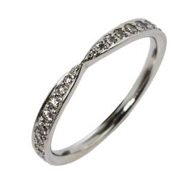 Tiffany & Co. Diamond Platinum Harmony Band Ring Size 54