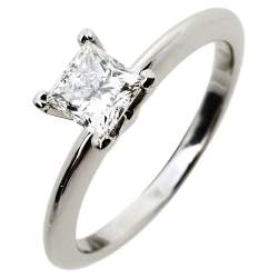 Tiffany & Co. Solitaire 0.53 ct Diamond Platinum Engagement Ring Size 50