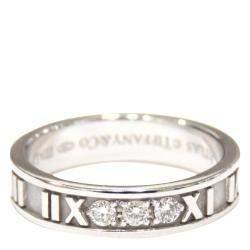 Tiffany & Co. 18K White Gold Diamond Atlas Ring Size 50.5