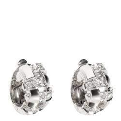 Tiffany Vannerie Basket Weave Huggie Diamond 18K White Gold Earrings