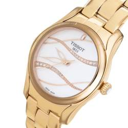 Tissot Mother of Pearl Rose Gold Plated Stainless Steel Diamond T-Wave T112210B Women's Wristwatch 30 mm