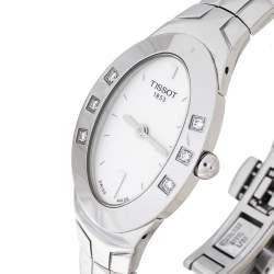 Tissot White Stainless Steel Diamond Oval Women's Wristwatch 21 mm