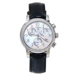 Tissot Mother Of Pearl Stainless Steel & Leather Diamond Dressport T050.217.16.112.01 Women's Wristwatch 35 mm
