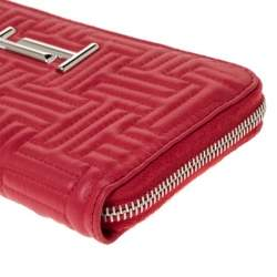 Tod's Red Leather Zip Around Continental Wallet