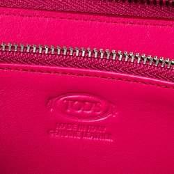 Tod's Fuchsia Leather Double T Zip Around Wallet
