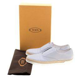 Tod's Grey Leather Francesina Espadrille Slip On Sneakers Size 38