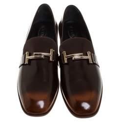 حذاء لوفرز تودز حرف T مزدوج سليب أون جلد ثنائي اللون مقاس 41.5