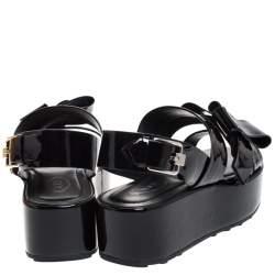 Tod's Black Patent Leather Slingback Platform Sandals Size 36.5