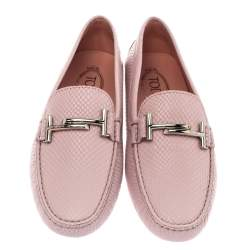 Tod's Pink Python Embossed Leather Double T Slip On Loafers Size 40.5