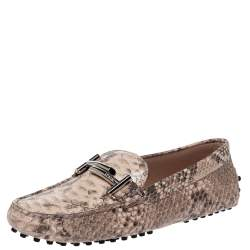 Tod's Multicolor Python Leather Double T Slip On Loafers Size 37