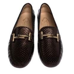 Tod's Metallic Brown Python Leather Double T Loafers Size 39