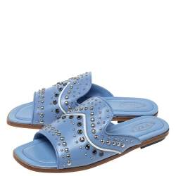 Tod's Blue Leather Studded Flat Slides Size 37