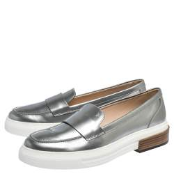 Tod's Sliver Leather Slip On Loafers Sneakers Size 39.5