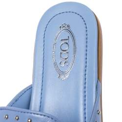 Tod's Blue Leather Studded Flat Slides Size 37.5