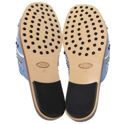 Tod's Blue Leather Studded Flat Slides Size 39