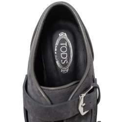 Tod's Grey Suede Leather Platform Block Heel Ankle Booties Size 40