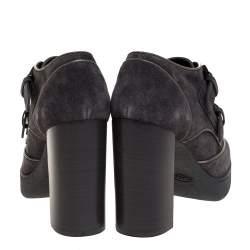 Tod's Grey Suede Leather Platform Block Heel Ankle Booties Size 39