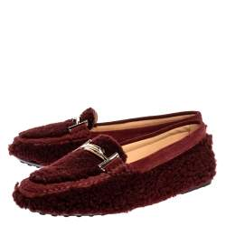 Tod's Burgundy Shearling And Suede Leather Double T Slip On Loafers Size 37.5