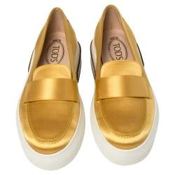 Tod's Yellow Satin Slip On Loafers Size 40