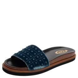 Tod's Blue Velvet Studded Flat Slides Size 40