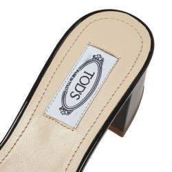 Tod's Black Patent Leather Double T Embellished Slide Sandals Size 36.5