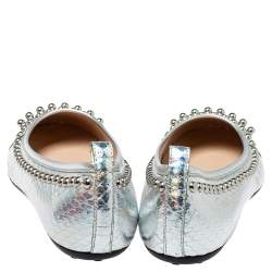 Tod's Metallic Silver Snakeskin Effect Leather Studded Ballet Flats Size 35.5