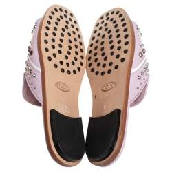 Tod's Purple Studded Leather Open Toe Flat Slides Size 38