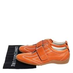 Tod's Leather Orange Velcro Strap Sneakers Size 40