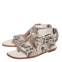 Tod's Brown/Cream Python Leather Ankle Strap Flat Sandals Size 37.5