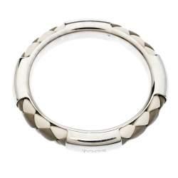 Tod's Woven Leather Silver Tone Bangle Bracelet
