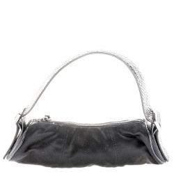 Tod's Black Canvas and Python Pochette Bag