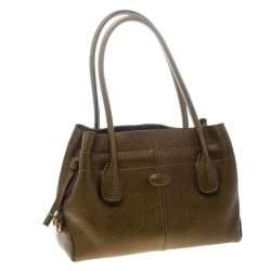 Tod's Dark Gold Leather D Bag Media Tote