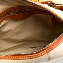 Tod's Beige/Orange Nylon and Leather Charlotte Hobo