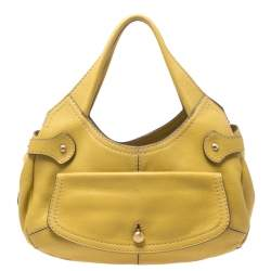 Tod's Light Yellow Grained Leather Flap Pocket Hobo