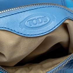 Tod's Light Blue Canvas/Leather and Suede Hobo