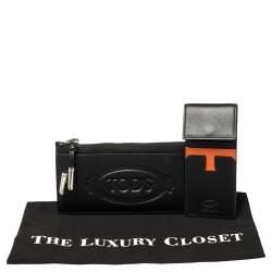 Tod's Black Leather Card Holder Zip Wallet